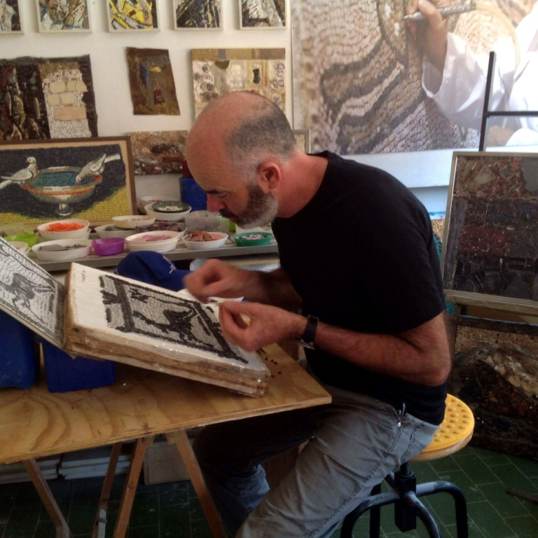 Michael Morgan - taking a Mosaic Course in Ravenna 2016